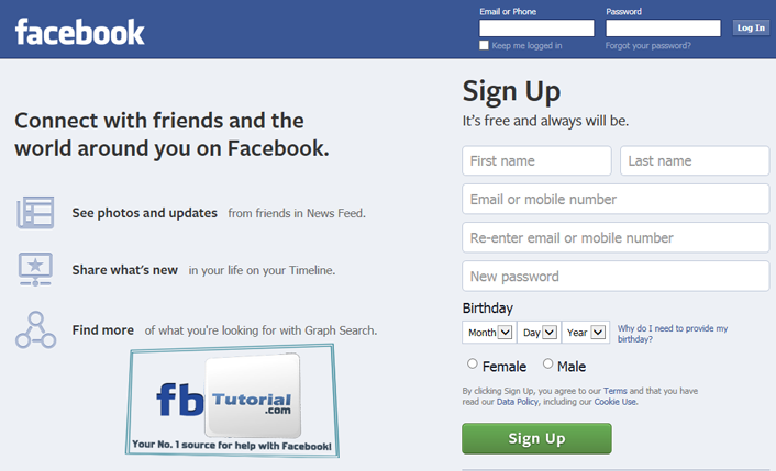 how to sign up for a facebook account fbtutorial com