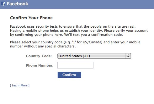 Add phone number facebook
