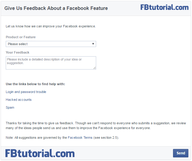 Facebook Feedback Form