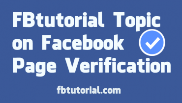 Facebook Page Verification - FBtutorial