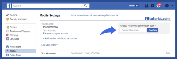 Facebook confirmation code